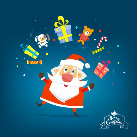 Santa Claus with boxes of gifts. Vector, illustration, flat