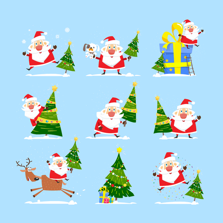 Christmas tree and Santa Claus. Collection of Merry Christmas, vector illustration.