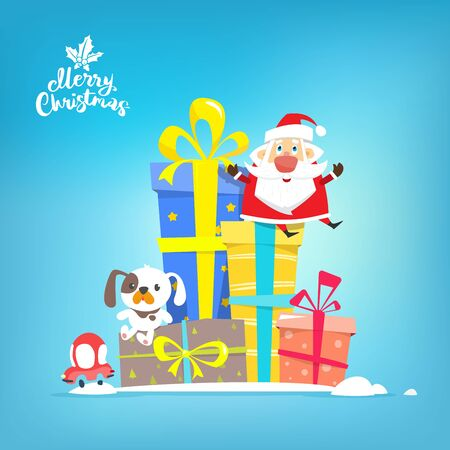 Santa Claus with boxes of gifts, vector illustration.