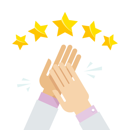 Hands applaud at positive five star feedback. Rating, evaluation, success, feedback, review, quality and management concept. Vector illustration