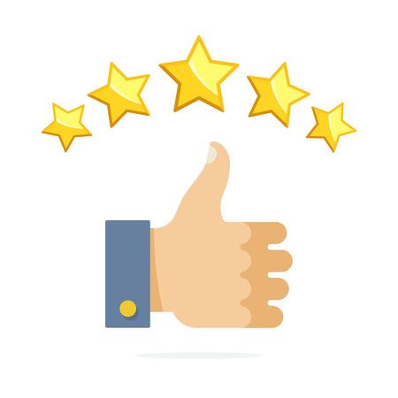 Thumb up and five stars rating. Vector illustration flat Illustration