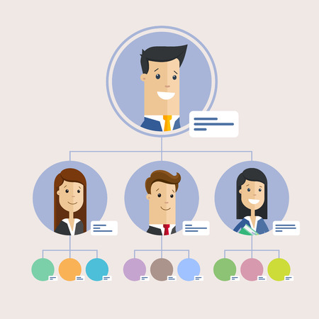 Hierarchy of company, persons. Flat illustration.
