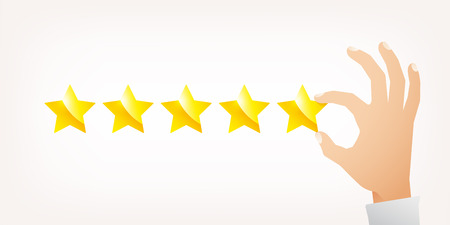 Hand giving five star rating. Vector illustration flat