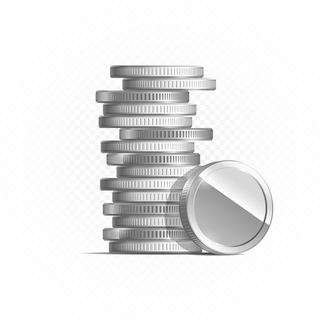 Silver coins isolated on transparent background in different positions. Illustration, vector