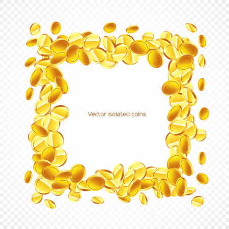 Square frame gold coins, isolated on transparent background in different positions. Illustration, vector Illustration