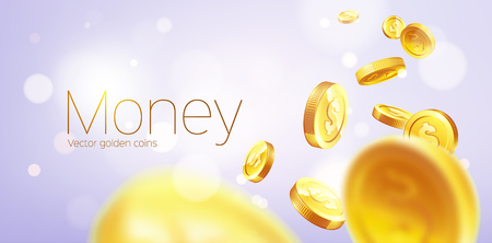 Banner Realistic Gold coins flying. Purple background.