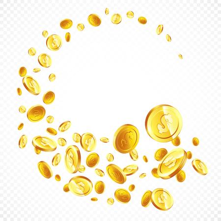 Latające złote monety w różnych pozycjach ilustracji, na białym tle.