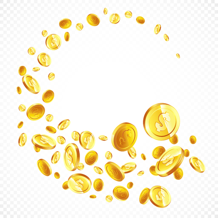Vliegende gouden muntstukken in verschillende positiesillustratie, geïsoleerde achtergrond.