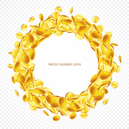 Circle frame gold coins, isolated on transparent in different positions