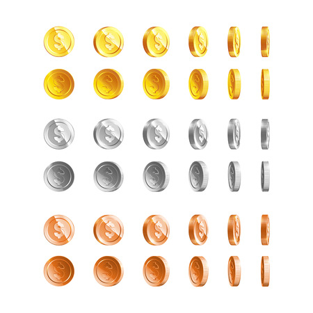 Gold, silver, bronze coins set isolated on transparent in different positions Illustration