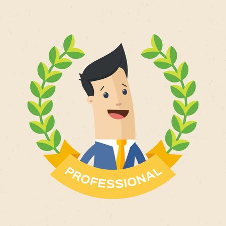 Employee of the year award. Best award wreath for business. Man brunette portrait. Flat vector illustration.