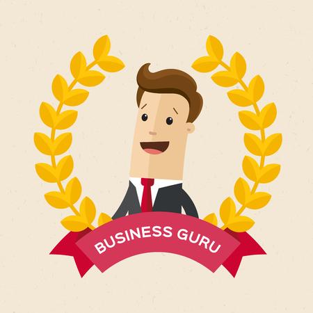Employee of the year award. Best award wreath for business. Man portrait. Flat vector illustration. Illustration