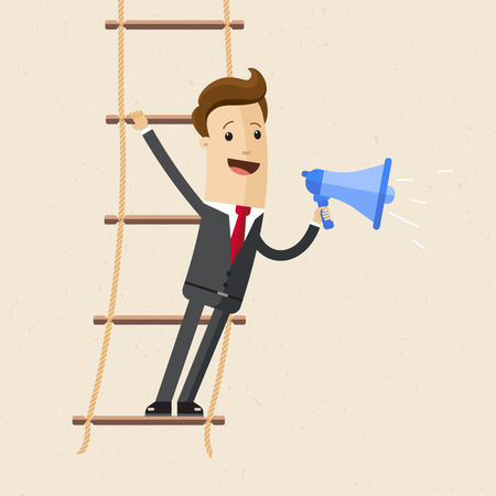 Businessman stand s on rope ladder and speak through a loudspeaker.