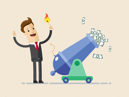 Businessman is setting on fire the cannon to fly money out of it for making a first jerk of his business.