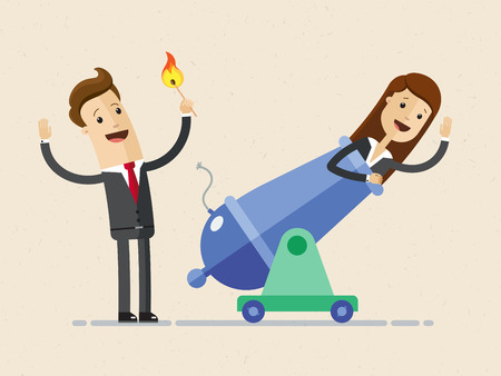 Businessman is setting on fire the cannon to fly woman out of it for making a first jerk of his business. Illustration