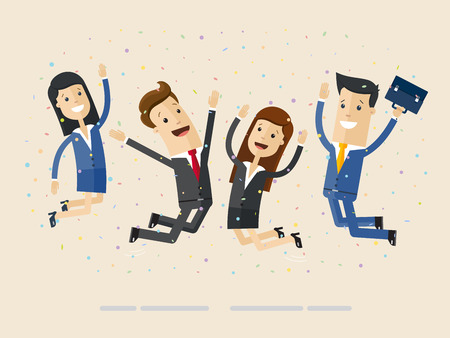 Businessmans and womans jump with happiness together. Business people jumping up celebrating success.