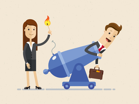 Business woman is setting on fire the cannon to fly businessman out of it for making a first jerk of his business. Illustration