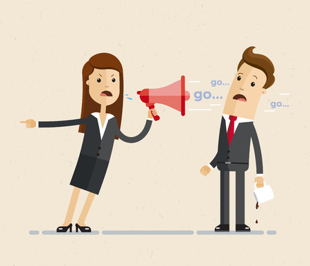 Business woman with a megaphone. Illustration