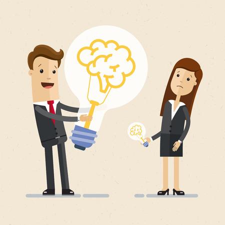 Businessman hold a big light bulb, with brain. And woman hold a small light bulb. Concept of business idea.