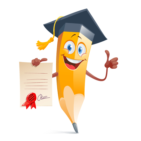 Funny pencil in graduation cap and with diploma certificate.