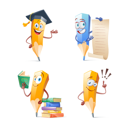 Set of cute funny pencil cartoon. Education concept illustration. Vettoriali