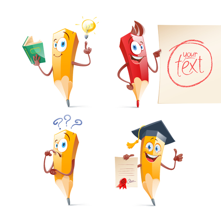 Set of cute funny pencil cartoon. Education, school illustration.