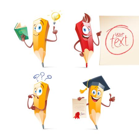 Set of cute funny pencil cartoon. Education, school illustration.