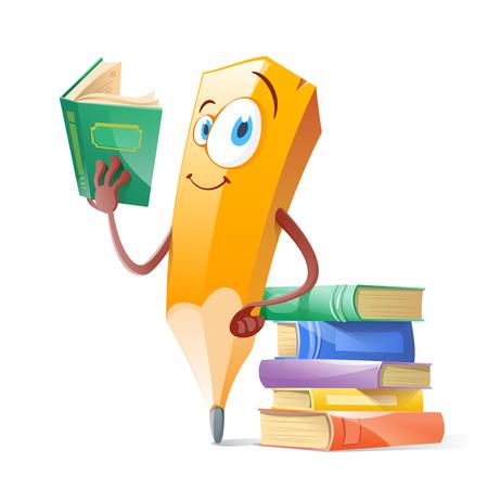 Zabawny długopis z książkami. Koncepcja edukacji. Ilustracje wektorowe