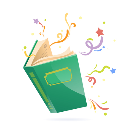 Green covered opened book with pages fluttering. Illustration