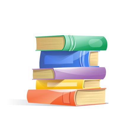 Pila di libri, isolato su uno sfondo bianco. Concetto di apprendimento. Illustrazione vettoriale Vettoriali