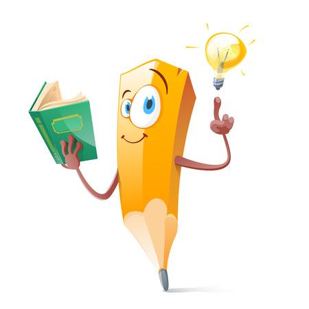 Pensil engraçado com livro e lâmpada de ideia.