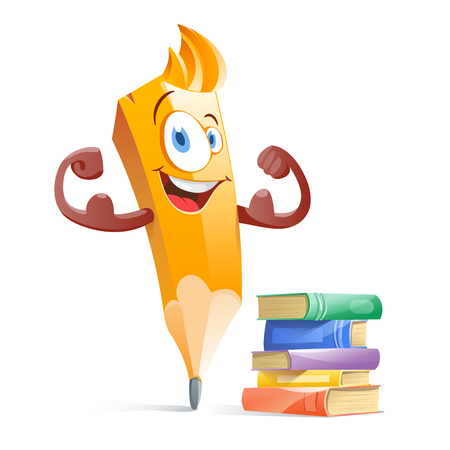 Funny cartoon pensil with books. Vectores
