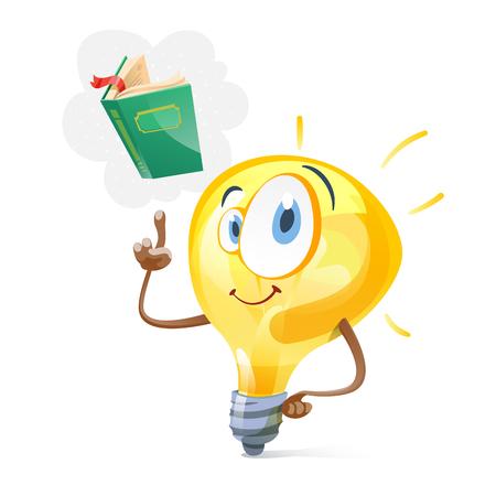 Funny idea bulb with book