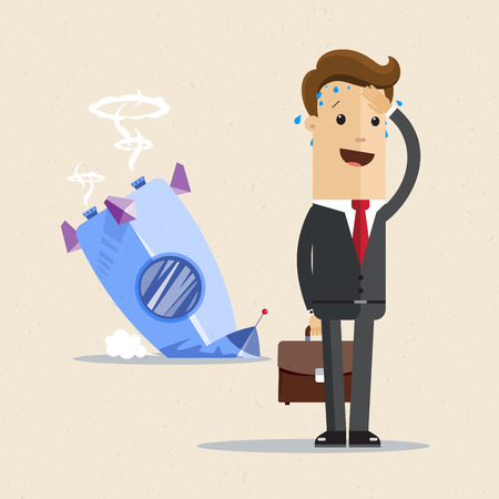 Businessman and rocket crashed. Business failure, the rocket fall down. Stock Vector - 96246642