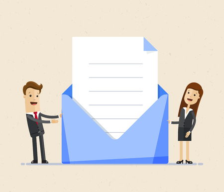 Bsiness man and business woman standing with big envelop and letter, invintation. Post letter, delivery service or e-mail vector concept