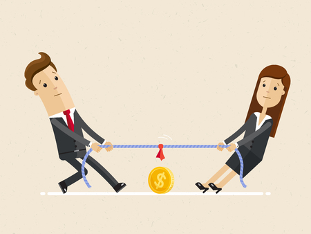 Businessman and businesswoman are unplugging the power cable above the precipice. Competition of colleagues