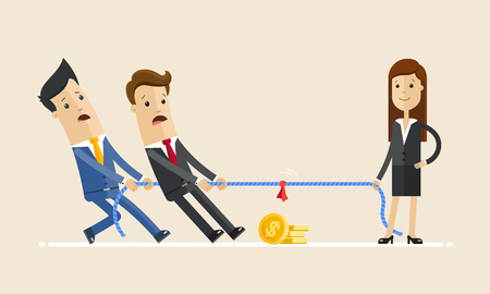 Businesswoman in tug of war with a two male coworkers, competition. Vector illustration Illustration