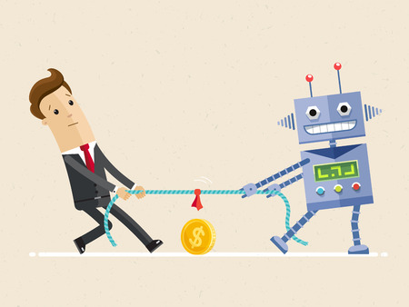 Businessman fighting with robot in the tug of war competition. Cartoon character in flat design. Vector Illustration flat Illustration