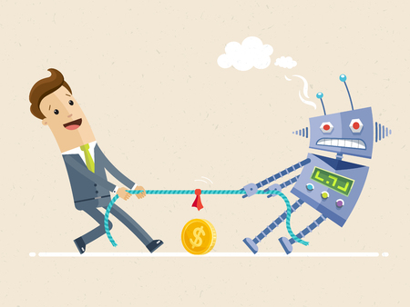 Businessman fighting with robot in the tug of war competition. Artificial intelligence and employee. Vector Illustration. flat
