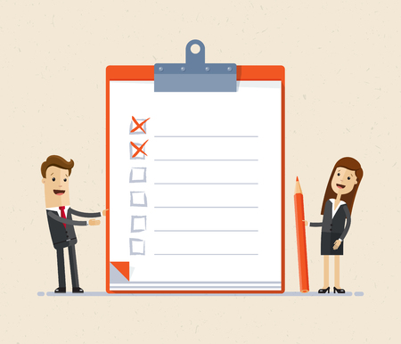 Business people, man and woman standing with big clipboard and checklist. Illustration