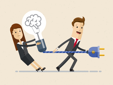 Businessman and business woman are preparing to plug a light bulb into the socket. Business idea concept .