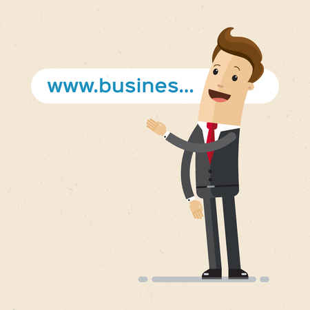 Businessman pointing to the link, website address, domain.