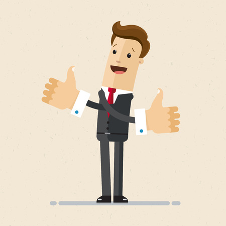 Happy businessman shows gesture cool, two hands thumbs up. Vector illustration