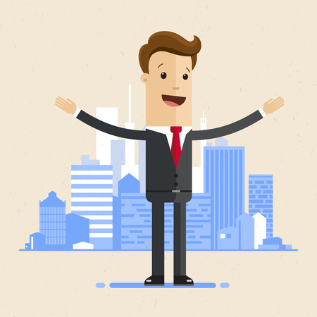 Business man standing with open arms on the background of a big city. Vector illustration flat