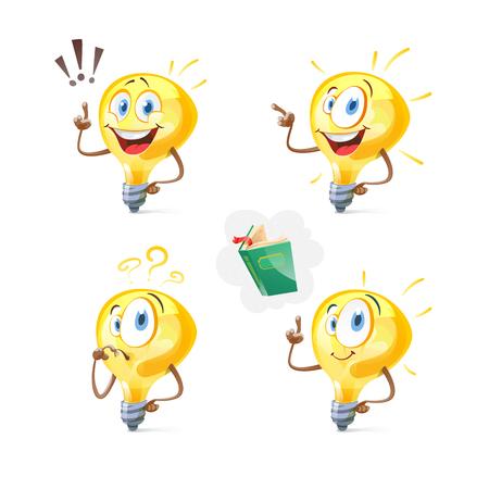 Set of vector lightbulbs. New idea symbols collections. Flat abstract bright cartoon bulbs. Vector Illustration