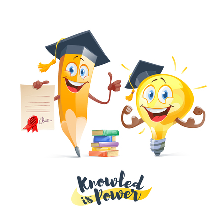 Knowledge is power, education concept, Light bulb idea and pencil with books