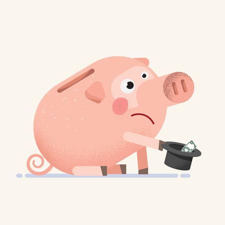 Sad empty Piggy Bank beg for money