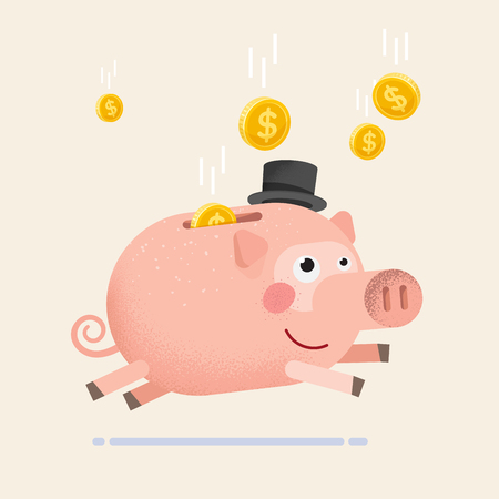 Piggy bank with coins. Vector illustration flat