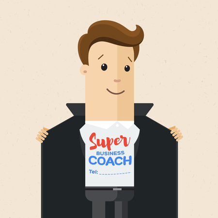 Business man opens his jacket to show T-shirt with text super coach on his chest