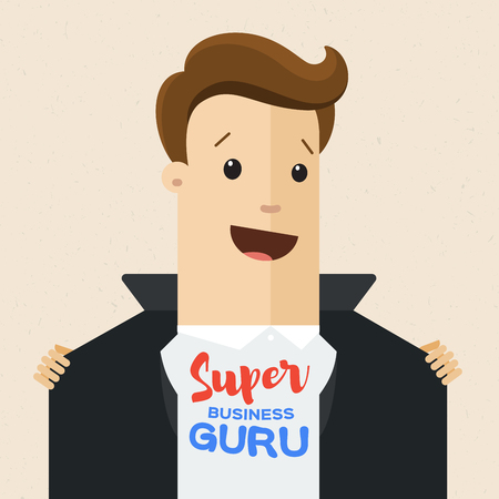 Business man opens his jacket to show T-shirt with text super guru on his chest .